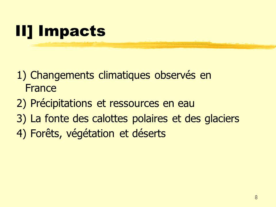 II] Impacts 1) Changements climatiques observés en France